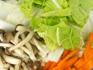 vegetable toppings Chinese cabbage shimeji carrots