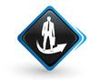 icône coach sur bouton carré bleu design