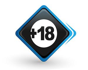 icône plus de 18 ans sur bouton carré bleu design