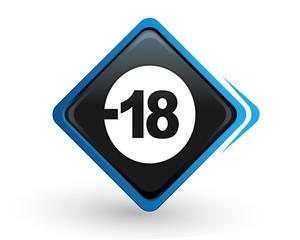 icône moins de 18 ans sur bouton carré bleu design