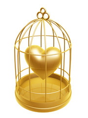 golden birdcage and heart