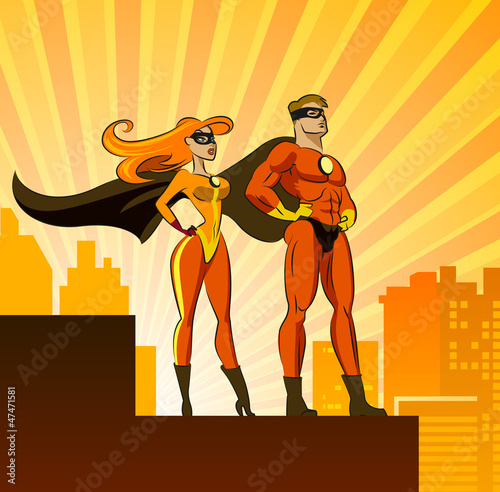 Spoed canvasdoek 2cm dik Superheroes Super Heroes - Male and Female.