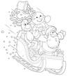 Santa, Reindeer and Snowman slide down