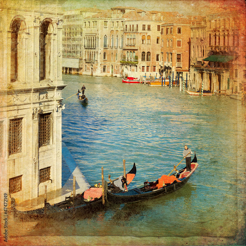 Venice - Gondolas in Grand Canal - 47472149