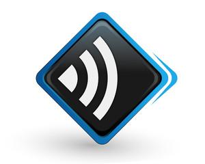 icône réseau sans fil sur bouton carré bleu design