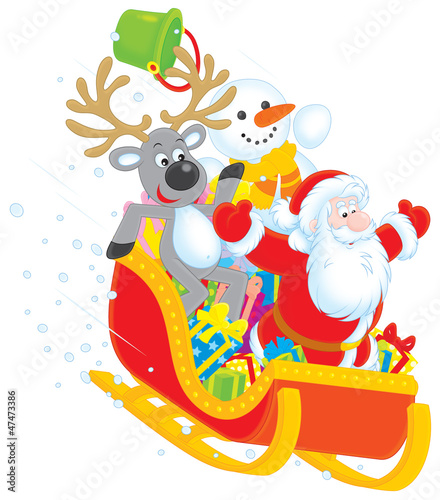 Santa, Reindeer and Snowman with gifts