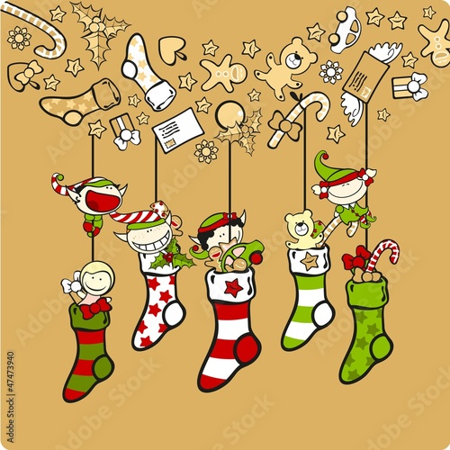 Cute elves with Christmas stockings