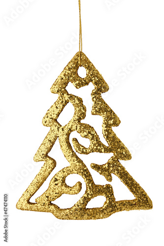 gold christmas tree isolated on white