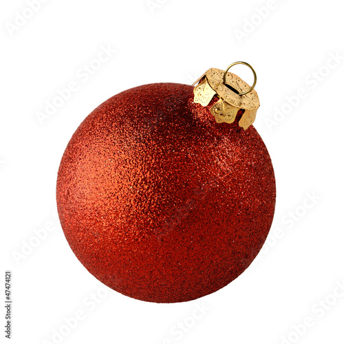 red christmas ball isolated on white