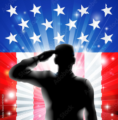 Tuinposter Superheroes US flag military soldier saluting in silhouette
