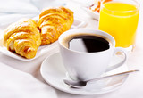 Fototapety cup of coffee and croissants