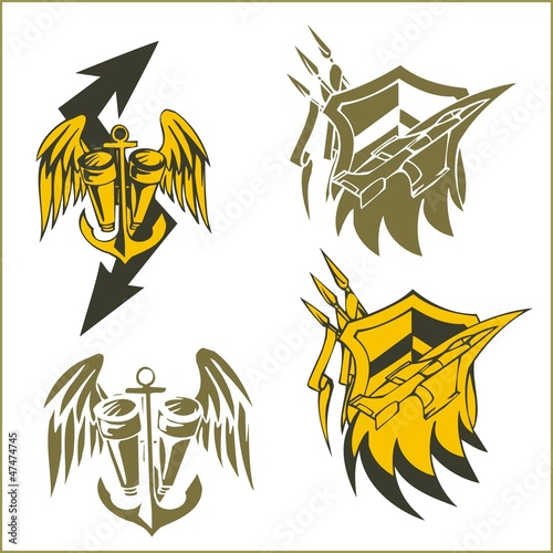 Military Emblem - Vinyl-ready Vector Set.