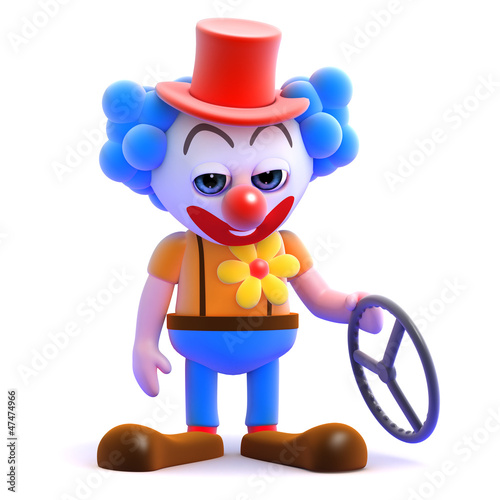 Clown holds the remains of his car