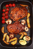 Delicious beef steak with grilled vegetable