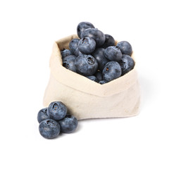 Blueberries in in a small bag, isolated