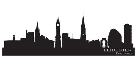 Leicester, England skyline. Detailed silhouette