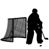silhouettes of hockey player goalkeeper.
