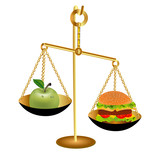 of the comparison of the weight of an Apple and a hamburger for poster