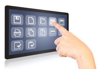 Hand touching button on tablet screen.