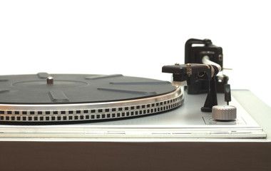 Turntable with empty disk isolated on white closeup