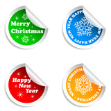 Merry Christmas and Happy New Year stickers set.
