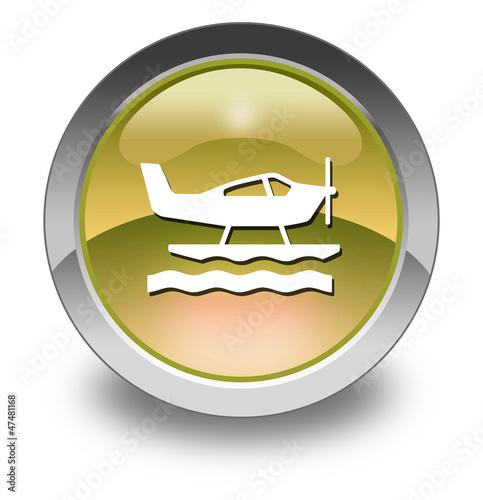 "Yellow Glossy Pictogram ""Sea Plane"""
