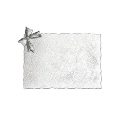 close up of card note silver  ribbon on white background