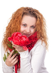 woman with red flower
