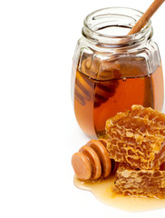 honeycombs and honey dipper