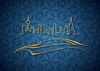 Otomobil ve altın şehir mavi fonda