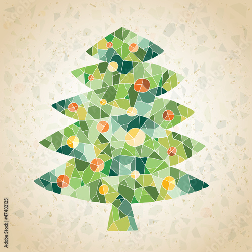 Christmas Tree Greeting Card ... mosaic in green