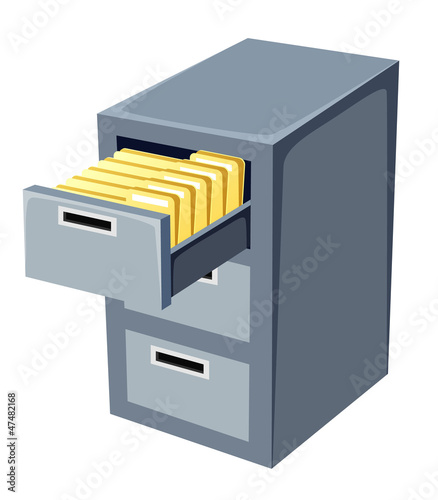 illustration of file cabinet with an open