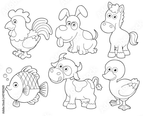 illustration of farm animals cartoon.Coloring book