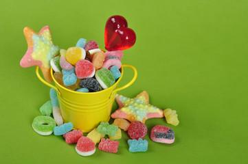 candies in yellow bucket
