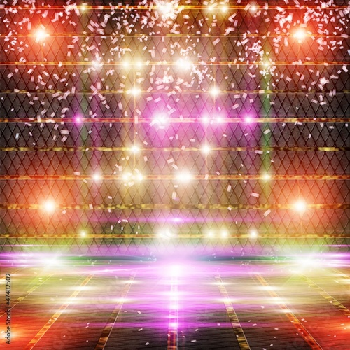 Abstract Background with flashing lights and confetti.