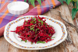 salad of fresh beets and carrots with parsley