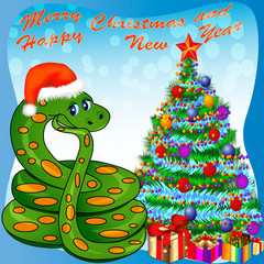 of a Christmas tree and a snake with gifts