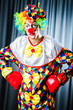 Funny clown in the studio shooting