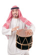 Arab man playing drum isolated on white