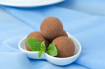 chocolate truffle with fresh mint