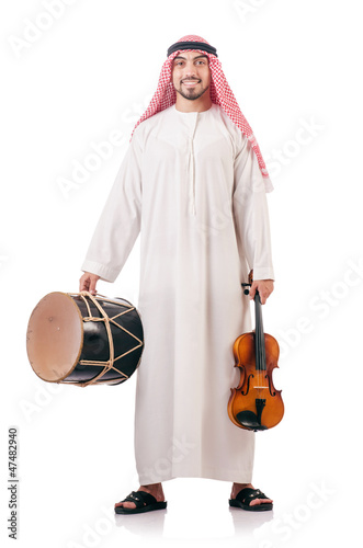 Arab man playing violin isolated on white | Buy Photos | AP
