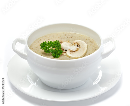 Mushroom cream soup isolated on white