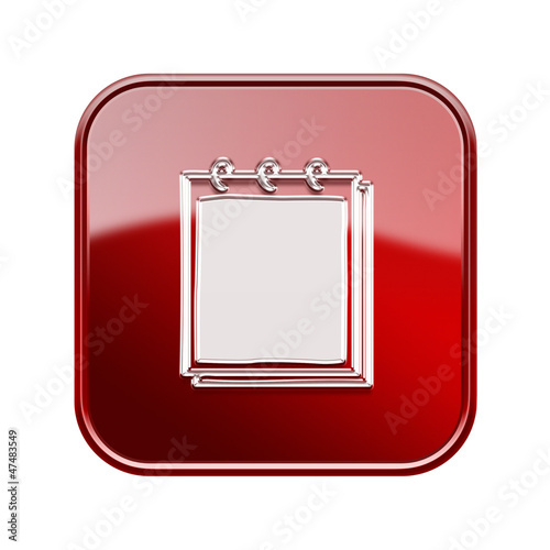 Notebook icon glossy red, isolated on white background