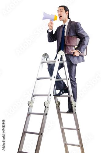Businessman climbing career ladder on white