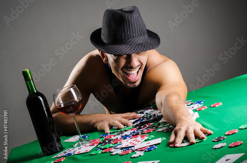 Naked broke businessman in casino