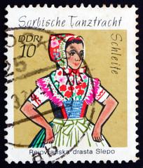 Postage stamp GDR 1971 Sorbian Dance Costume, Schleife