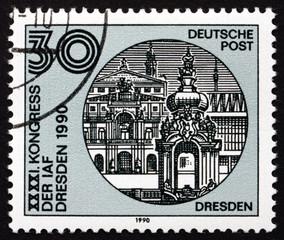 Postage stamp GDR 1988 Dresden Skyline