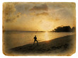 Silhouette of a man on the beach. Old postcard.