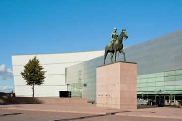 Statue of Mannerheim and museum Kiasma, Helsinki