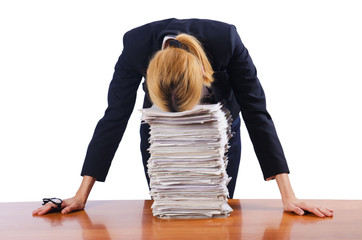 Woman businesswoman with lots of papers